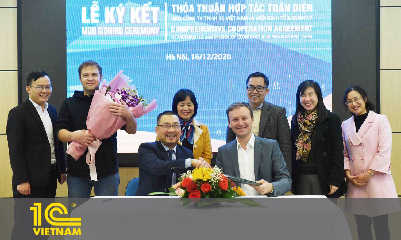 Lễ ký kết hợp tác toàn diện giữa 1C Việt Nam và Viện Kinh tế & Quản lý - Trường Đại học Bách Khoa